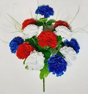 "Red White Blue Carnations 17"" Bush Patriotic Silk Flower Indoor Outdoor Decor US"