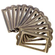 12Pcs Antique Brass Cabinet Drawer Label Pull Frame Handle File Name Card Holder