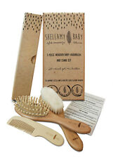 Shellamy Baby 3 Piece Wooden Baby Hairbrush and Comb Set with Goat Hair Bristles