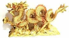 NEW GOLD Chinese Feng Shui Dragon Figurine Statue for Luck & Success #Large