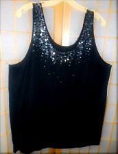 NWOT MOSSIMO BLACK TANK TOP GUNMETAL SEQUINS TRIM PLUS SIZE 24 26 SLEEVELESS