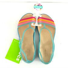 Crocs Womens Isabella Sandals Slip On Strappy Rubber Blue Rainbow Size 4