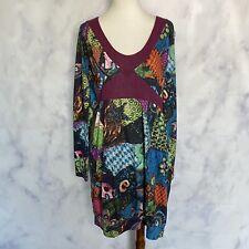 Desigual NWT 17V2084 Floral V-Neck Long Sleeve Embroidered Dress Size XL