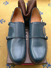 New Gucci Mens Shoes Blue Leather Loafers UK 10.5 US 11.5 44+ Monk Buckle 355022