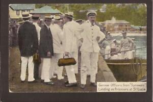 """ST.LUCIA. German Officers from """"Sprewald"""" Landing as Prisoners at St.Lucia."""