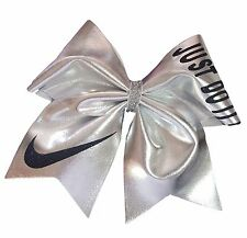 Just Do It! Nike Swoosh Silver Mystique Spandex Cheer Hair Bow