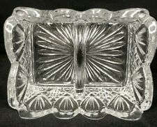 Vintage EAPG Clear Glass Divided Sugar Packet Dish
