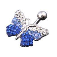 Piercing Ombligo Vientre 316L acero quirurgico diamantes Mariposa B5H8