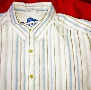 TOMMY BAMAMA RELAX 100% LINEN MEN'S WHITE LARGE LONG SLEEVE BUTTON UP SHIRT