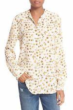 NWT Equipment Henri in Nature White Gold Bugs Baubles Silk Button Down Shirt XS