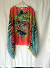 NEW LADIES FREE SIZE SUMMER EMBELLISHED CHIFFON PONCHO TOP BEACH COVER UP KAFTAN