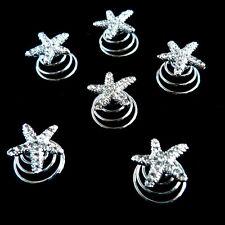 6 épingles spirales twister cheveux court chignon mariage étoile de mer cristal