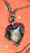 Pendentif, reliquaire en forme de coeur et sa fine chaîne, Argent, Napoléon 3