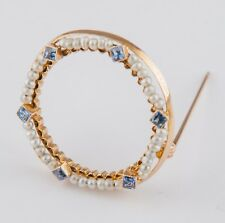 Antique Vintage 10k Yellow Gold Pristine blue Sapphire & Pearl  Pin Brooch