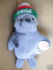 "Collectible Coca Cola Plush Bean Bag 9"" Walrus Seal With Full Bottle Of Coke"