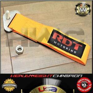 JDM Orange-Yellow Lumina Bolt-On Nylon Towing Belt Strap Bumper Tow Hook Adapter