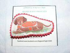 Sausage Dog / Dachshund Cath Kidston Fabric & Felt Handmade Brooch Red Coat