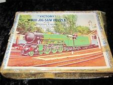 "VINTAGE ""VICTORY"" WOODEN JIG-SAW PUZZLE Miniature Express Train COMPLETE 81 pcs"