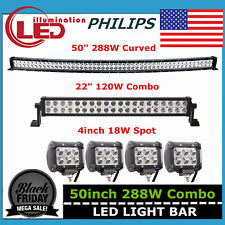 "50inch 288W Curved LED Work Light Bar COMBO Offroad Truck 18W 4"" SPOT 120W 48/52"