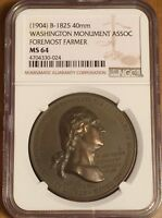 Washington Medal  First And Foremost A Farmer NGC MS64 B-1825 Monument Assoc