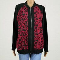 Susan Graver Jacquard Knit Zip Front Bomber Jacket LARGE Red Black Stretchy