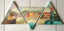 Peinture acrylique tableau Collioure 3 triangles abstrait Original tryptique