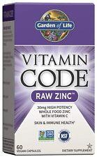 Vitamin Code RAW Zinc 30mg Garden Of Life 60 Capsules High Potency Immune Health