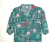 Vtg United Colors Of Benetton shirt S / M aloha Hawaiian floral tikki teal