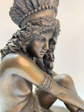 Large Vintage Cold Cast Bronze Art Nouveau Exotic Dancer Sculpture