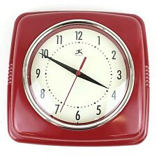 Infinity Instruments Square Clock Red wall time electric hanging retro vintage