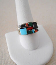 Southwest Sterling Silver Inlay Multi Stone Bear Fetish Ring       219195