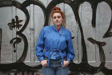 Damen NAPPALEDER Lederjacke Jacke ECHT LEDER blau 90er TRUE VINTAGE 90s blue