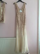 Goddiva Rose Gold Sequin Champagne Prom Bridesmaid Dress Gown Size 10 BNWT