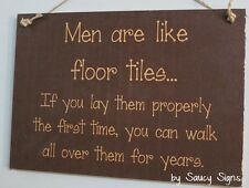 Men Floor Tiles Shabby Rustic Chic Wooden Gift Country Wall Bathroom Sign