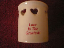 VINTAGE CANDLE HOLDER CERAMIC LAMP LIGHT SHADE HEARTS LOVE IS THE GREATEST &CUTE