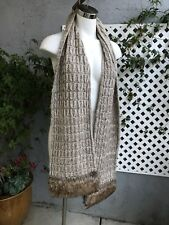 """LOLA Brown Tan Cable Knit Casual Acrylic Scarf Faux Fur Trim Size O/S   80""""X9"""""""