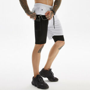 Men's Sports Shorts Quick-drying Pants Fitness Running Jogger Built-in shorts