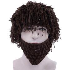 Winter Knitted Hats Women Men Beard Beanie Wig Hat Ski Mask Cap Warm Cute Funny