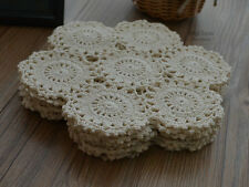 """Set 3 Cream 9"""" Round Floral Crochet Lace Doilies Wedding Lot French Country"""