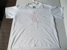 Ballet Shoes T-Shirt Embroidered And Hand Set Rhinestones Child Size M 10-12.