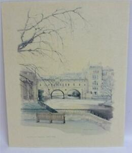 The Pulteney Bridge, Bath, by Gwilym Shephard. Coloured Lithograph Print