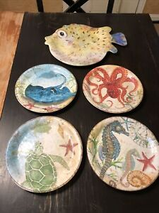 "PIER 1 Imports 5 Pc Set Melamine Sea Life Nautical Coastal Fish Plates 9"" Serve"