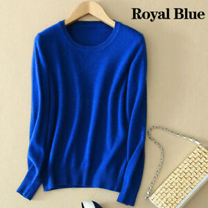 Women Wool Cashmere Sweater Knitted Pullover Slim Crew Neck Sweater Solid