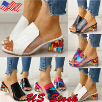 Candy Sandals Women's Colorful Applique Chunky Heel Slipper Summer Casual Shoes