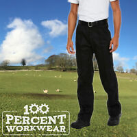 Uneek Mens Drivers Work Trousers Pants Sewn In Crease Black Navy Blue Reg Tall