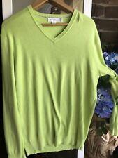 Calvin Klein Lime Knit Jumper Sweater L Men's Ladies Unisex V Neck Designer