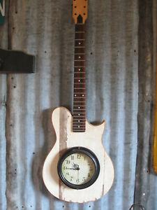 Reclaimed Guitar Wall Clock Custom Made Folk Art