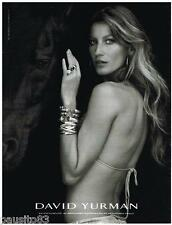 PUBLICITE ADVERTISING 105 2012  DAVID YURMAN  joaillier & GISELE BUNSCHEN