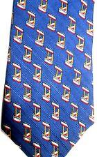 "Countess Mara Men's Silk Tie 57.5"" X 3.75"" Dark Blue w/ multi-color Geometric"