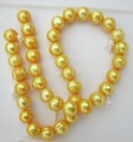 "Natural 18"" Aaa 11-12mm South Sea Golden Pearl Necklace 14k Gold Clasp"